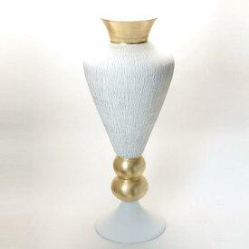 イタリア製 ナポリ ガラス 花器 ベージュ 豪華 ゴールド モダン アンフォラ型 アンティーク調 ボウル 花瓶 装飾 アート オブジェ ビッグ フラワーベース 高さ84cm frn-02w-gl