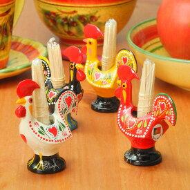 ポルトガル製 ようじ立て 楊枝 お土産 幸せを呼ぶ バルセロスの 雄鶏 おしゃれ ニワトリ カラフル ヨーロッパ 楊枝立て アルミ合金 置物 食器 ピンチョス ピック の プレゼント 付き 食卓を彩る テーブルウエア pmc-a12