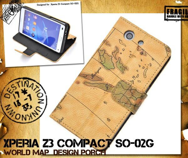 Xperia Z3 Compact (SO-02G) 専用 ワールドデザインケースポーチ【xperia z3 compact z3 compact so-02g エクスぺリアz3 コンパクト カバー 手帳 so02g so-02g ケース 】
