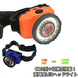 COB型+砲弾型搭載!高輝度 LEDヘッドライト ヘッドライト 登山 ヘッドライト led 登山 ヘッドランプ