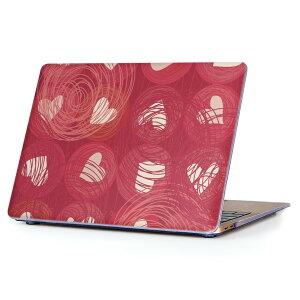 MacBook Air 13inch 2018 専用 デザインハードケース A1932 Apple マックブック エア ノートパソコン カバー ケース ハードカバー クリア 透明 アクセサリー 保護 000185 ハート イラスト 赤