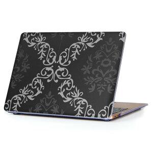 MacBook Air 13inch 2018 専用 デザインハードケース A1932 Apple マックブック エア ノートパソコン カバー ケース ハードカバー クリア 透明 アクセサリー 保護 003909 模様 エレガント 黒