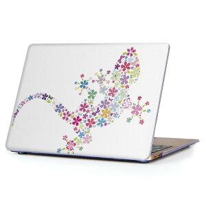 MacBook Air 13inch 2018 専用 デザインハードケース A1932 Apple マックブック エア ノートパソコン カバー ケース ハードカバー クリア 透明 アクセサリー 保護 007663 花 フラワー とかげ トカゲ