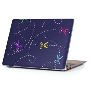MacBook Air 13inch 2018 専用 デザインハードケース A1932 Apple マックブック エア ノートパソコン カバー ケース ハードカバー クリア 透明 アクセサリー 保護 007746 はさみ 鋏 カラフル 模様
