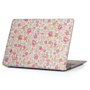 MacBook Air 13inch 2018 専用 デザインハードケース A1932 Apple マックブック エア ノートパソコン カバー ケース ハードカバー クリア 透明 アクセサリー 保護 011901 花柄 ピンク かわいい