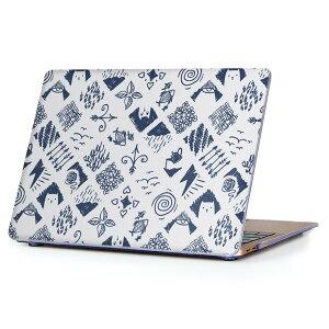 MacBook Air 13inch 2018 専用 デザインハードケース A1932 Apple マックブック エア ノートパソコン カバー ケース ハードカバー クリア 透明 アクセサリー 保護 012053 ねこ 魚 かわいい