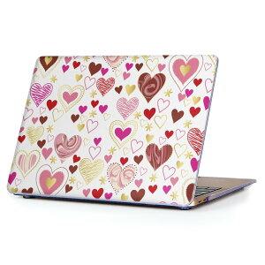 MacBook Air 13inch 2018 専用 デザインハードケース A1932 Apple マックブック エア ノートパソコン カバー ケース ハードカバー クリア 透明 アクセサリー 保護 013309 ハート かわいい ピンク