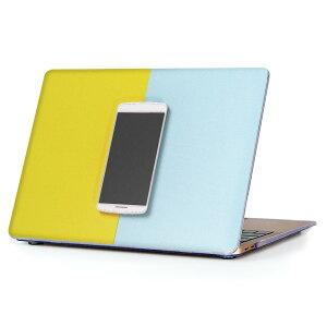 MacBook Air 13inch 2018 専用 デザインハードケース A1932 Apple マックブック エア ノートパソコン カバー ケース ハードカバー クリア 透明 アクセサリー 保護 014669 携帯 青 黄色