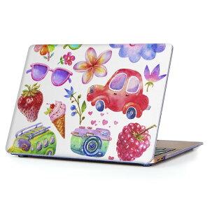 MacBook Air 13inch 2018 専用 デザインハードケース A1932 Apple マックブック エア ノートパソコン カバー ケース ハードカバー クリア 透明 アクセサリー 保護 014805 かわいい イラスト カラフル