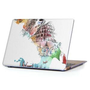 MacBook Air 13inch 2010  2017 専用 デザインハードケース A1466 A1369 Apple マックブック エア ノートパソコン カバー ケース ハードカバー クリア 透明 007403 建物 イタリア イラスト カラフル