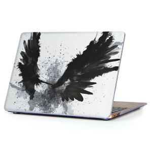 MacBook Air 13inch 2010 〜 2017 専用 デザインハードケース A1466 A1369 Apple マックブック エア ノートパソコン カバー ケース ハードカバー クリア 透明 007919 インク ペンキ 黒 ブラック 羽根