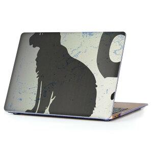 MacBook Air 13inch 2010 〜 2017 専用 デザインハードケース A1466 A1369 Apple マックブック エア ノートパソコン カバー ケース ハードカバー クリア 透明 008317 猫 黒 ブラック インク ペンキ