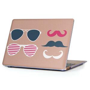 MacBook Air 13inch 2010 〜 2017 専用 デザインハードケース A1466 A1369 Apple マックブック エア ノートパソコン カバー ケース ハードカバー クリア 透明 010503 ひげ サングラス ピンク
