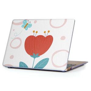 MacBook Air 13inch 2010  2017 専用 デザインハードケース A1466 A1369 Apple マックブック エア ノートパソコン カバー ケース ハードカバー クリア 透明 014918 花 かわいい 蝶