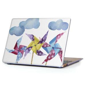 MacBook Air 13inch 2010  2017 専用 デザインハードケース A1466 A1369 Apple マックブック エア ノートパソコン カバー ケース ハードカバー クリア 透明 015868 風車 雲 かわいい
