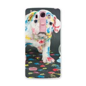 DM-01G Disney Mobile ディズニーモバイル dm01g docomo ドコモ スマホ カバー ケース スマホケース スマホカバー PC ハードケース 犬 写真 ペンキ インク カラフル アニマル 008304