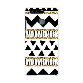HUAWEI P9 ファーウェイ HUAWEIP9 simfree SIMフリー カバー スマホケース スマホカバー PC ハードケース 模様 幾何学模様 黒 012105