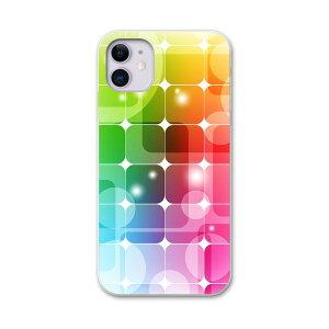 iPhone11 6.1インチ 専用 ソフトケース docomo ドコモ ソフトケース スマホカバー スマホケース ケース カバー tpu 000119 その他 虹色 四角 タイル