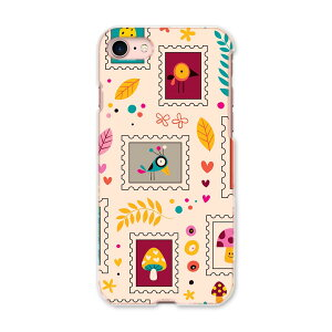 iPhone SE 2020 専用ハードケース iPhone8 iPhone7 iPhone6/6s 共通対応 全機種対応 あり ケース スマホケース スマホカバー PC ハードケース 008271 切手 鳥 カラフル 模様