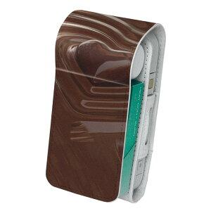 「宅配便専用」iQOS アイコス 専用 レザーケース 従来型 / 新型 2.4PLUS 両対応 タバコ ケース カバー 合皮 クリーナー 収納 アイコスケース デザイン チョコレート ハート 000815