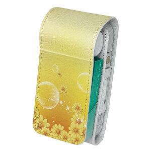 「宅配便専用」iQOS アイコス 専用 レザーケース 従来型 / 新型 2.4PLUS 両対応 タバコ ケース カバー 合皮 クリーナー 収納 アイコスケース デザイン 花 フラワー 黄色 001941