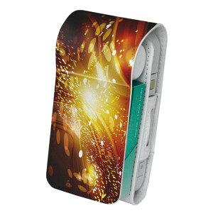 「宅配便専用」iQOS アイコス 専用 レザーケース 従来型 / 新型 2.4PLUS 両対応 タバコ ケース カバー 合皮 クリーナー 収納 アイコスケース デザイン 模様 オレンジ 光 002279