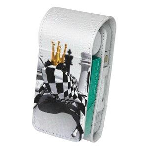「宅配便専用」iQOS アイコス 専用 レザーケース 従来型 / 新型 2.4PLUS 両対応 タバコ ケース カバー 合皮 クリーナー 収納 アイコスケース デザイン チェス 立体 白 黒 003455