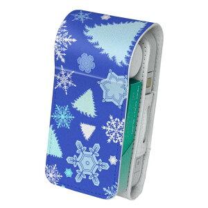 「宅配便専用」iQOS アイコス 専用 レザーケース 従来型 / 新型 2.4PLUS 両対応 タバコ ケース カバー 合皮 クリーナー 収納 アイコスケース デザイン 雪 結晶 青 003809