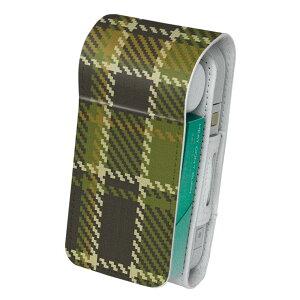 「宅配便専用」iQOS アイコス 専用 レザーケース 従来型 / 新型 2.4PLUS 両対応 タバコ ケース カバー 合皮 クリーナー 収納 アイコスケース デザイン チェック 緑 003887