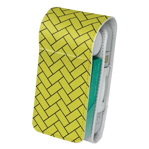 「宅配便専用」iQOS アイコス 専用 レザーケース 従来型 / 新型 2.4PLUS 両対応 タバコ ケース カバー 合皮 クリーナー 収納 アイコスケース デザイン 模様 黄色 004446