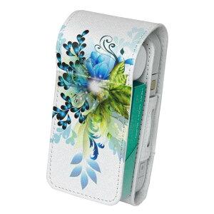 「宅配便専用」iQOS アイコス 専用 レザーケース 従来型 / 新型 2.4PLUS 両対応 タバコ ケース カバー 合皮 クリーナー 収納 アイコスケース デザイン 青 ブルー 植物 005937