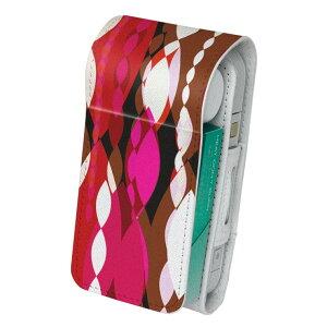 「宅配便専用」iQOS アイコス 専用 レザーケース 従来型 / 新型 2.4PLUS 両対応 タバコ ケース カバー 合皮 クリーナー 収納 アイコスケース デザイン 赤 レッド 模様 006077