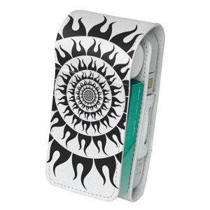 「宅配便専用」iQOS アイコス 専用 レザーケース 従来型 / 新型 2.4PLUS 両対応 タバコ ケース カバー 合皮 クリーナー 収納 アイコスケース デザイン 太陽 黒 006936