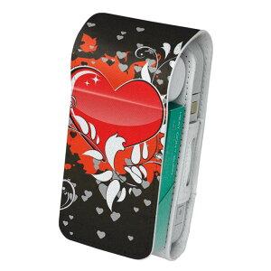 「宅配便専用」iQOS アイコス 専用 レザーケース 従来型 / 新型 2.4PLUS 両対応 タバコ ケース カバー 合皮 クリーナー 収納 アイコスケース デザイン イラスト ハート 赤 レッド 黒 ブラ