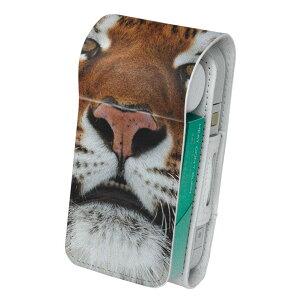 「宅配便専用」iQOS アイコス 専用 レザーケース 従来型 / 新型 2.4PLUS 両対応 タバコ ケース カバー 合皮 クリーナー 収納 アイコスケース デザイン 写真 トラ 虎 動物 008090