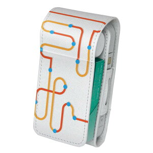 「宅配便専用」iQOS アイコス 専用 レザーケース 従来型 / 新型 2.4PLUS 両対応 タバコ ケース カバー 合皮 クリーナー 収納 アイコスケース デザイン 迷路 赤 オレンジ レッド 008711