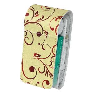 「宅配便専用」iQOS アイコス 専用 レザーケース 従来型 / 新型 2.4PLUS 両対応 タバコ ケース カバー 合皮 クリーナー 収納 アイコスケース デザイン 花 フラワー 赤 レッド 008758