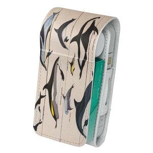 「宅配便専用」iQOS アイコス 専用 レザーケース 従来型 / 新型 2.4PLUS 両対応 タバコ ケース カバー 合皮 クリーナー 収納 アイコスケース デザイン 海 イルカ 生き物 010935