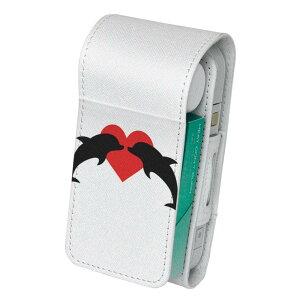 「宅配便専用」iQOS アイコス 専用 レザーケース 従来型 / 新型 2.4PLUS 両対応 タバコ ケース カバー 合皮 クリーナー 収納 アイコスケース デザイン イルカ ハート 動物 011291