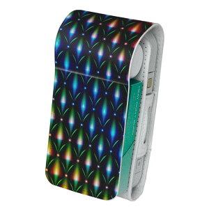 「宅配便専用」iQOS アイコス 専用 レザーケース 従来型 / 新型 2.4PLUS 両対応 タバコ ケース カバー 合皮 クリーナー 収納 アイコスケース デザイン レインボー カラフル 模様 011753