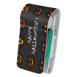 「宅配便専用」iQOS アイコス 専用 レザーケース 従来型 / 新型 2.4PLUS 両対応 タバコ ケース カバー 合皮 クリーナー 収納 アイコスケース デザイン かぼちゃ ハロウィン 黒 013394