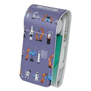 「宅配便専用」iQOS アイコス 専用 レザーケース 従来型 / 新型 2.4PLUS 両対応 タバコ ケース カバー 合皮 クリーナー 収納 アイコスケース デザイン ロボット 機械 英語 013492