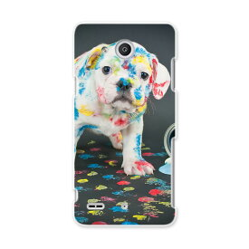 LGV33 Qua phone PX キュア フォン px lgv33 au エーユー スマホ カバー ケース スマホケース スマホカバー PC ハードケース 犬 写真 ペンキ インク カラフル アニマル 008304