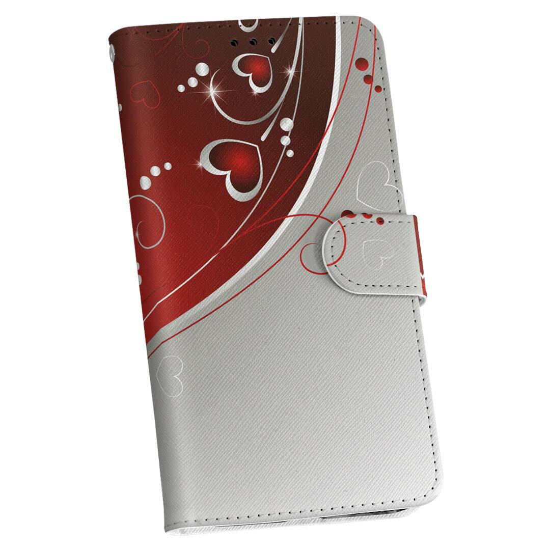 手帳型 docomo softbank au スマホ カバー 手帳型スマホ レザー ケース 手帳タイプ フリップ ダイアリー 二つ折り 革 001167 ハート 模様