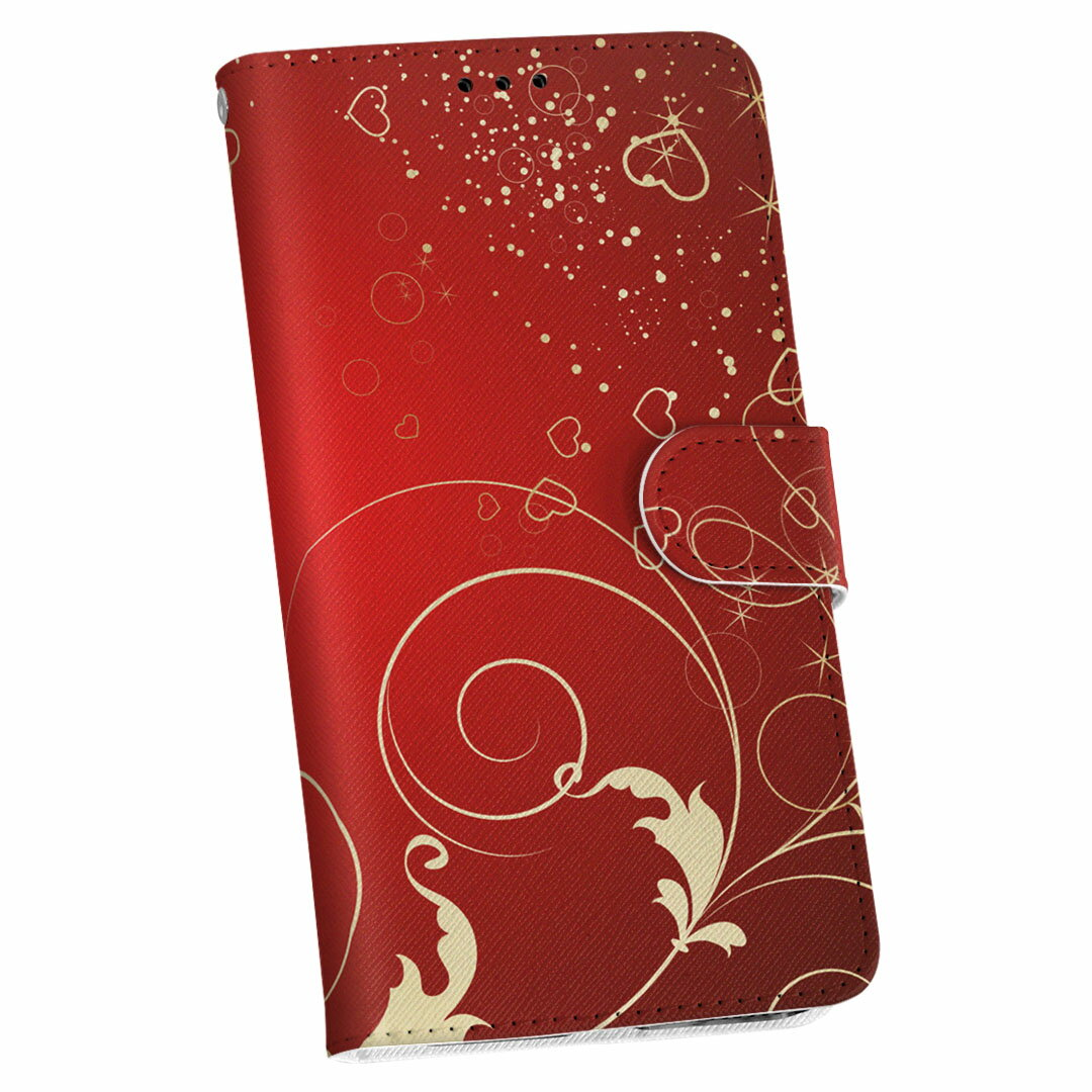SOV34 Xperia XZ エクスペリア XZ au エーユー 手帳型 スマホ カバー レザー ケース 手帳タイプ フリップ ダイアリー 二つ折り 革 ラグジュアリー 赤 レッド ハート 005767