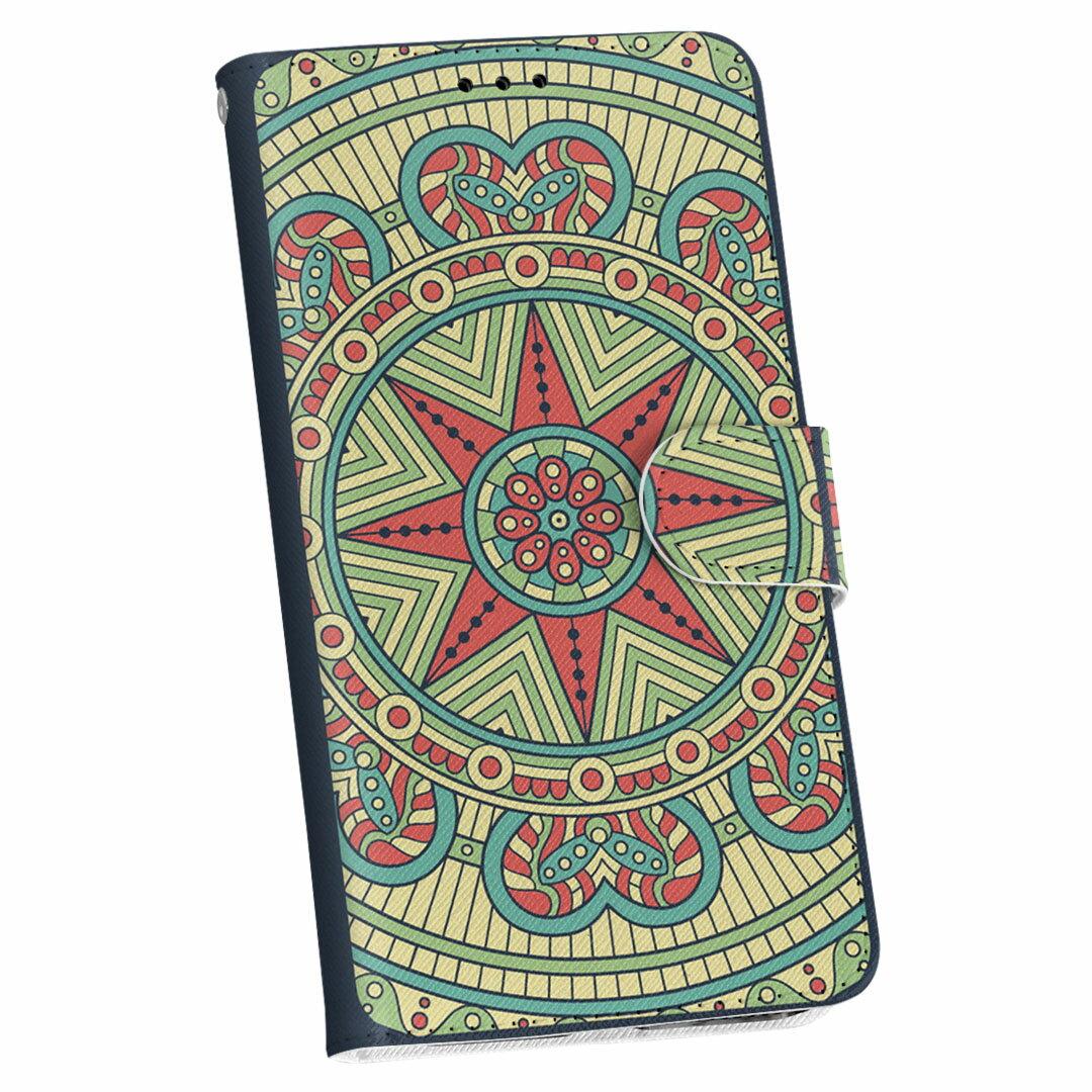 SHV35 AQUOS U アクオス ユー shv35 au エーユー 手帳型 スマホ カバー 全機種対応 あり カバー レザー ケース 手帳タイプ フリップ ダイアリー 二つ折り 革 010133 アジアン 模様 緑