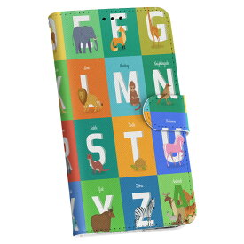 ZenFone Go ZB551KL simfree SIMフリー 手帳型 スマホ カバー レザー ケース 手帳タイプ フリップ ダイアリー 二つ折り 革 012997 アルファベット 英語 動物