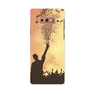 SCV40 Galaxy Note9 ギャラクシー ノートナイン au エーユー scv40 スマホ カバー スマホケース スマホカバー PC ハードケース 011892 音符 人物 シルエット