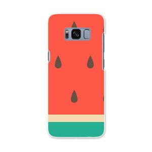 SCV36 Galaxy S8 ギャラクシー エス エイト au エーユー スマホ カバー ハード pc ケース ハードケース 果物 スイカ 赤 緑 010433