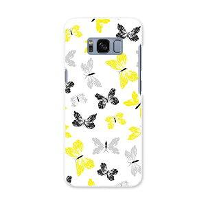 SCV36 Galaxy S8 ギャラクシー エス エイト au エーユー スマホ カバー ハード pc ケース ハードケース 蝶 黄色 黒 011126